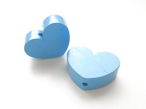 Perle en Bois Grand Coeur Bleu Ciel
