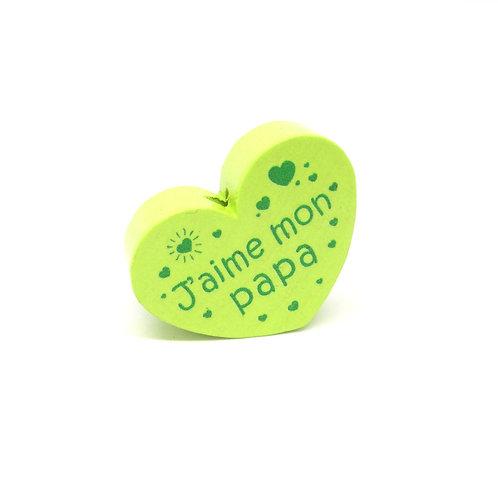 Perle en Bois Coeur J'aime mon Papa Vert Anis