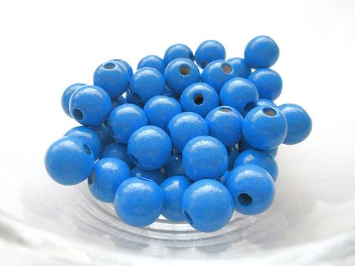 Lot de 25 Perles en Bois 12mm Bleu Royal