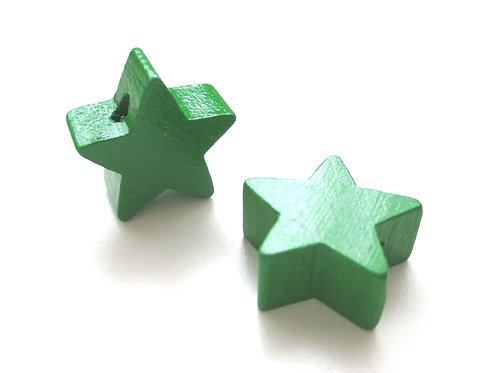 Perle en Bois Petite Etoile Vert