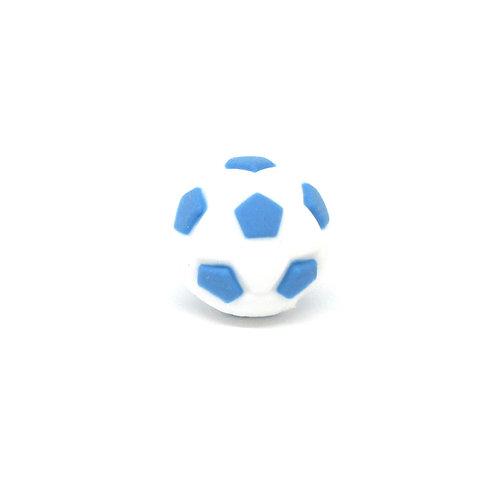 Perle Ballon de Foot Silicone Blanc & Bleu Royal