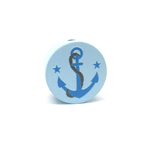 Perle en Bois Ancre Bleu Tendre