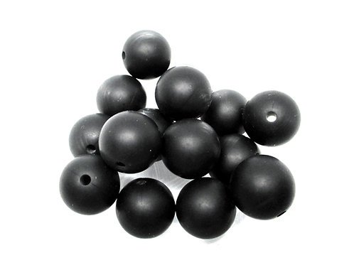 10 Perles Silicone 15mm Noir