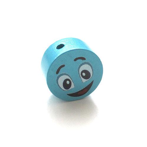 Perle en Bois 20mm Smiley Turquoise