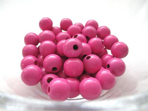 25 Perles en Bois 12mm Rose Foncé