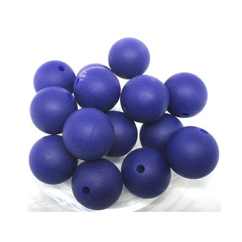 10 Perles Silicone 15mm Marine