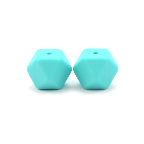 2 Perles Silicone Hexagonales 14mm Turquoise
