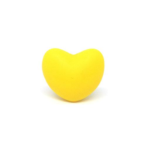 Perle Coeur Silicone Jaune