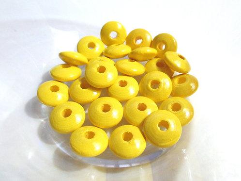 25 Perles en Bois Plates Jaune