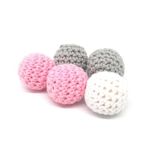 5 Perles en Bois et Crochet 20mm Blanc Rose Gris