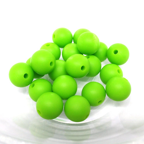 10 Perles Silicone 12mm Vert Pomme