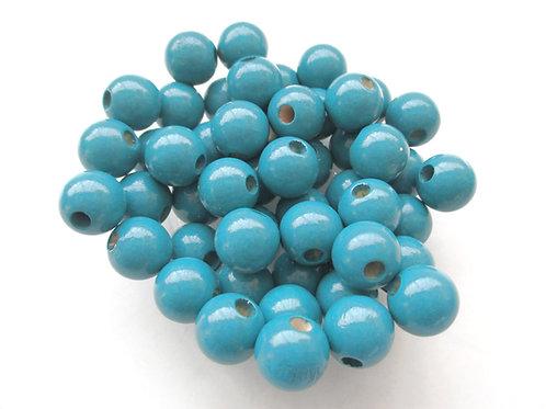 25 Perles en Bois 8mm Bleu Canard