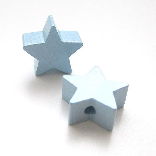 Perle en Bois Petite Etoile Bleu Tendre
