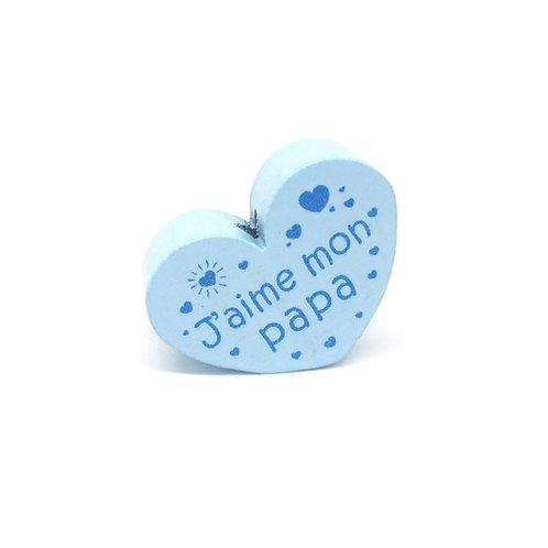 Perle en Bois Coeur J'aime mon Papa Bleu Tendre