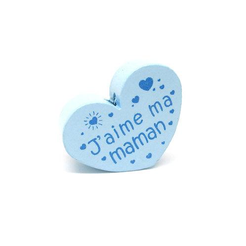 Perle en Bois Coeur J'aime ma Maman Bleu Tendre