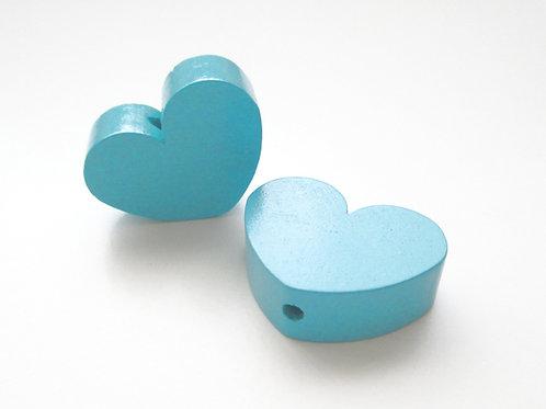 Perle en Bois Grand Coeur Turquoise
