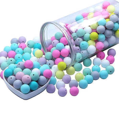 100 Perles Silicone 12mm Multicolore