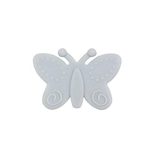 Perle Papillon Silicone Gris Clair