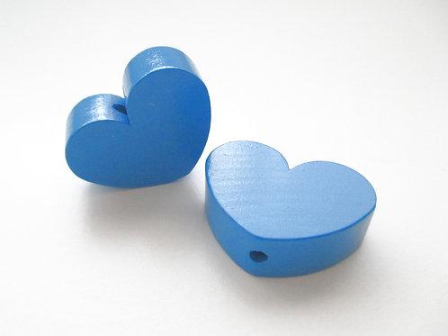 Perle en Bois Grand Coeur Bleu Royal