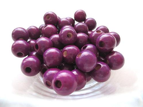 25 Perles en Bois 10mm Prune