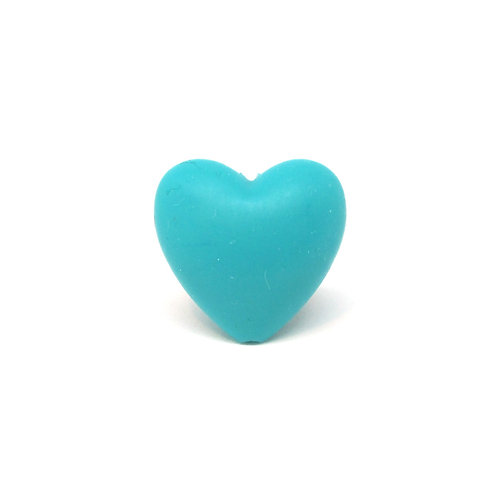 Perle Coeur Silicone Turquoise