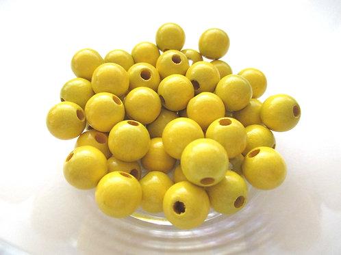 25 Perles en Bois 12mm Jaune