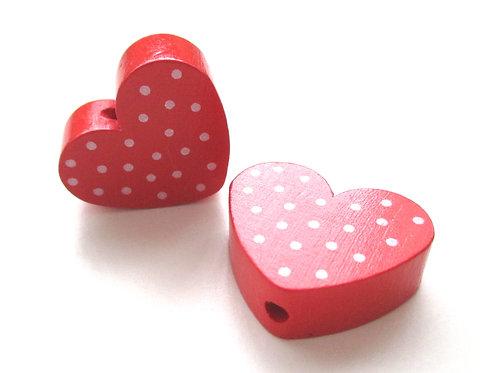 Perle en Bois Coeur à Pois Rouge