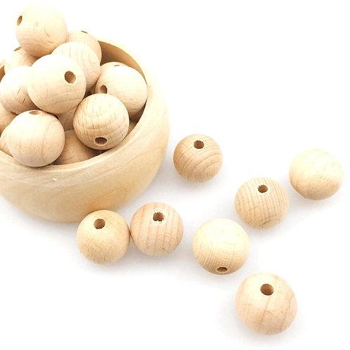 10 Perles en Bois Naturel Brut 16mm