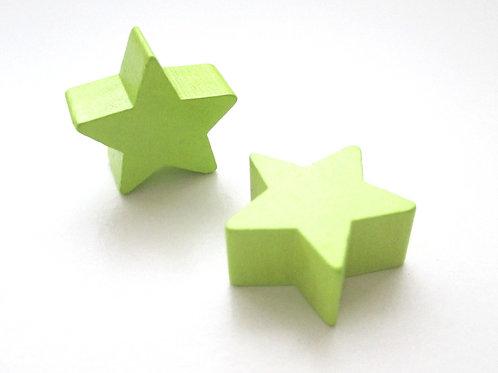 Perle en Bois Petite Etoile Vert Anis