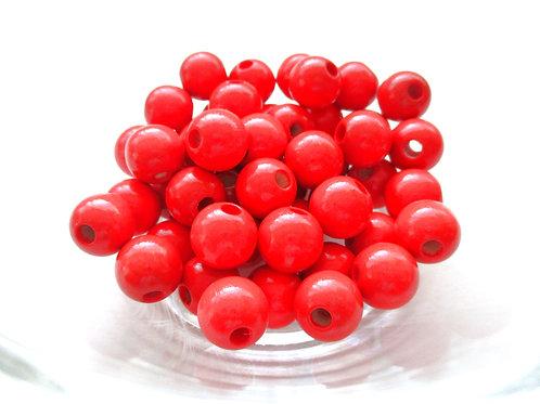 25 Perles en Bois 10mm Rouge