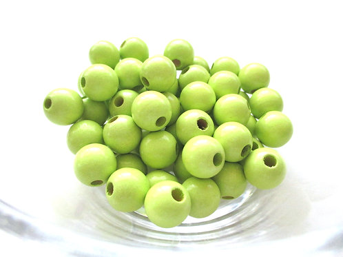 50 Perles en Bois 10mm Vert Anis