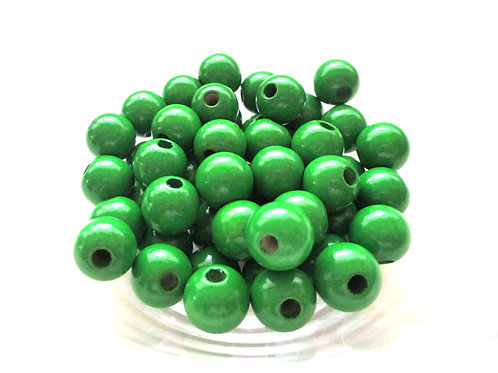 50 Perles en Bois 8mm Vert