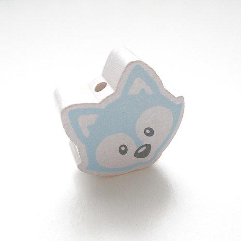 Perle en Bois Tête de Renard Blanc & Bleu Tendre