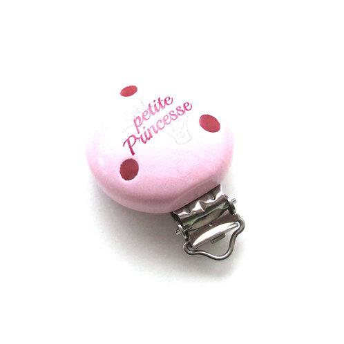 Clip en Bois Petite Princesse Rose Tendre