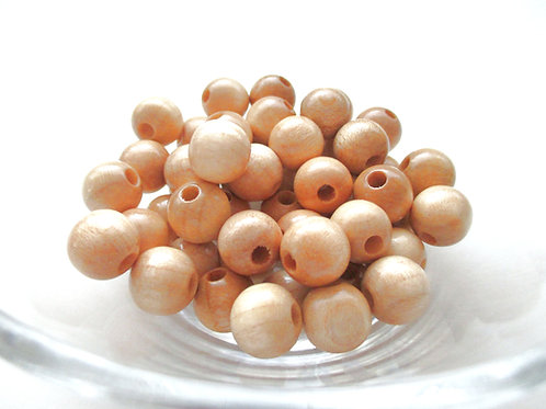 25 Perles en Bois 10mm Naturel