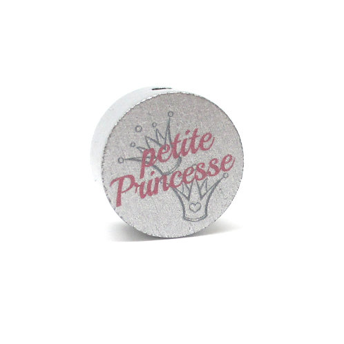 Perle en Bois Petite Princesse Argent