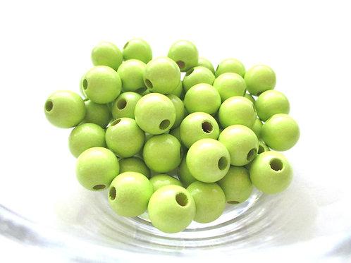 50 Perles en Bois 8mm Vert Anis