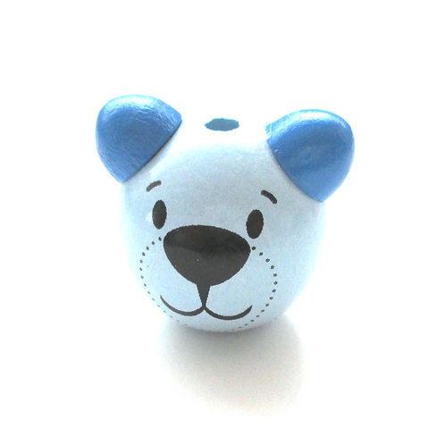 Perle en Bois 3D Ourson Bleu Tendre & Bleu Royal