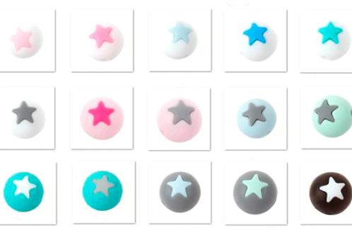 5 Perles Silicone Etoile 15mm