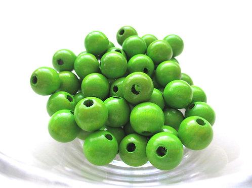 50 Perles en Bois 8mm Vert Pomme