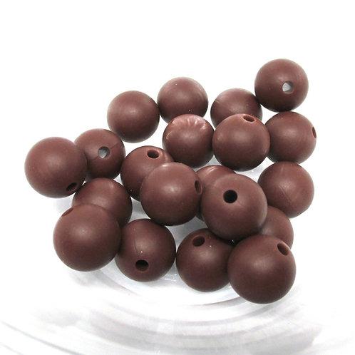 10 Perles Silicone 12mm Chocolat