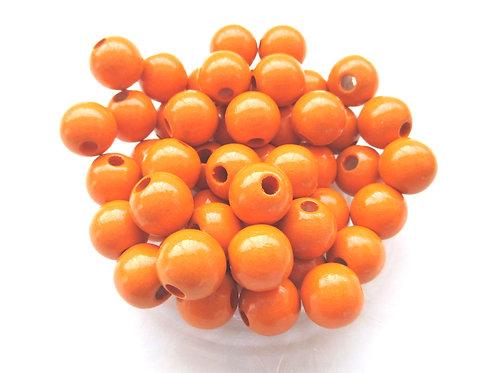 25 Perles en Bois 10mm Mandarine