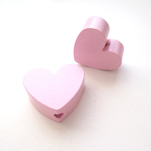 Perle en Bois Petit Coeur Rose Tendre