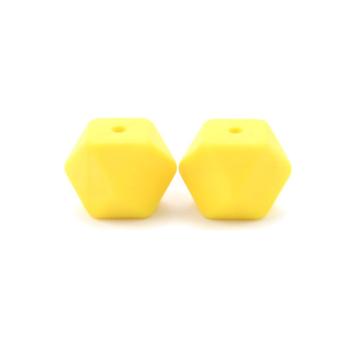 perle silicone hexagonale jaune