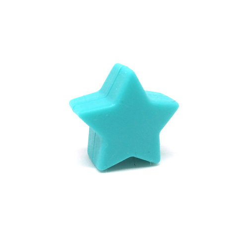 Perle Petite Etoile Silicone Turquoise