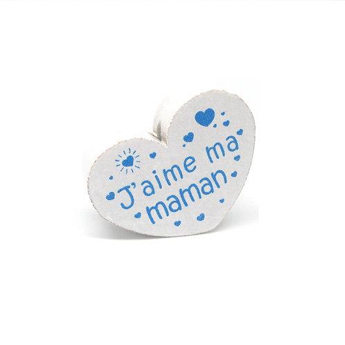 Perle en Bois Coeur J'aime ma Maman Blanc & Bleu
