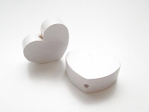 Perle en Bois Grand Coeur Blanc