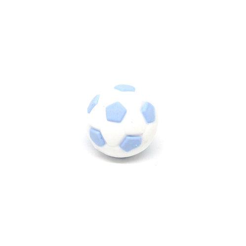 Perle Ballon de Foot Silicone Blanc & Bleu Tendre