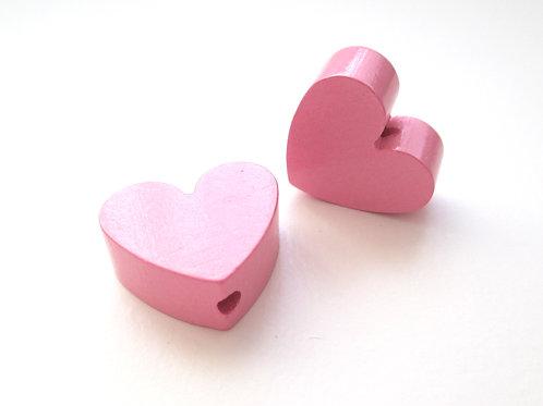 Perle en Bois Petit Coeur Rose