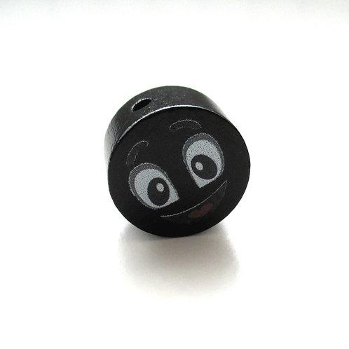 Perle en Bois 20mm Smiley Noir